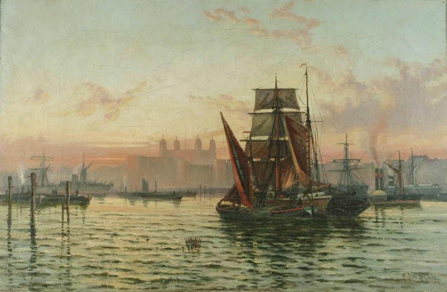 Charles_James_De_Lacy_-_Shipping_on_the_Thames_at_dusk_1883